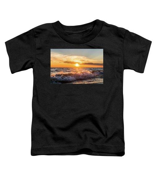 Waves Crashing With Suset Toddler T-Shirt