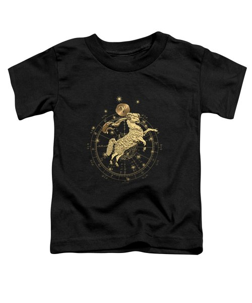 Western Zodiac - Golden Aries -the Ram On Black Canvas Toddler T-Shirt