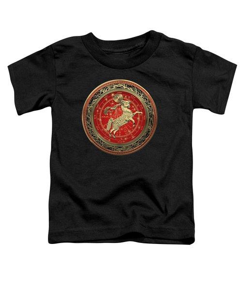 Western Zodiac - Golden Aries -the Ram On Black Velvet Toddler T-Shirt