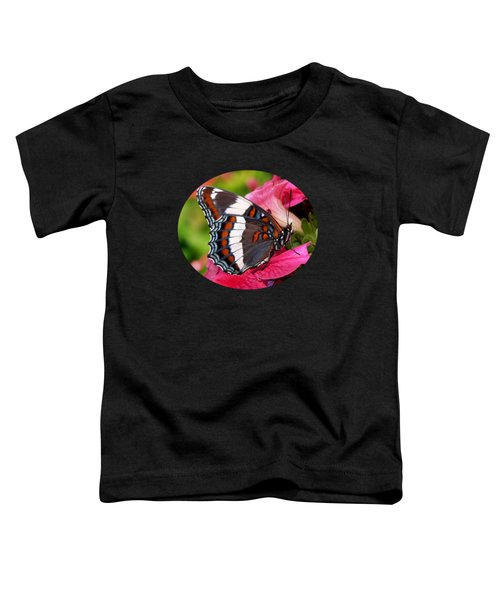 White Admiral Butterfly On Pink Flowers Toddler T-Shirt by Christina Rollo