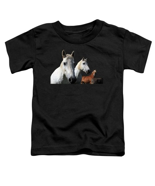 White Camargue Horses On Black Background Toddler T-Shirt