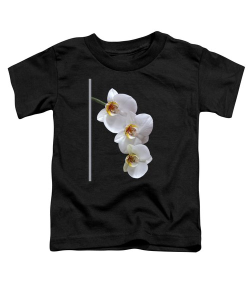 White Orchids On Black Vertical Toddler T-Shirt by Gill Billington