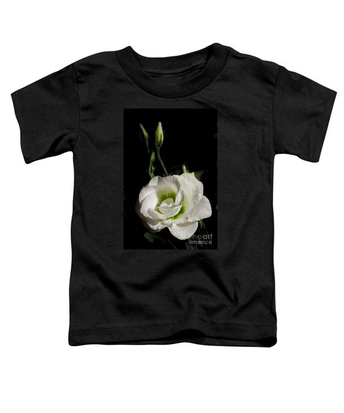White Rose On Black Toddler T-Shirt