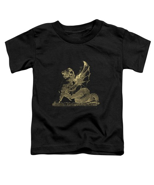 Winged Dragon Chimera From Fontaine Saint-michel, Paris In Gold On Black Toddler T-Shirt by Serge Averbukh