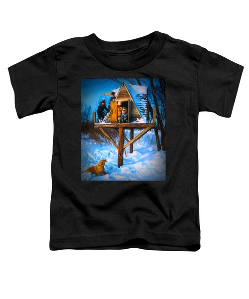 Winter Scene Three Kids And Dog Playing In A Treehouse Toddler T-Shirt