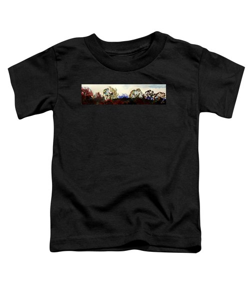 Winter Trees Silhouetted Against Mist Panorama Toddler T-Shirt