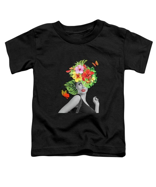 Woman Floral  Toddler T-Shirt by Mark Ashkenazi