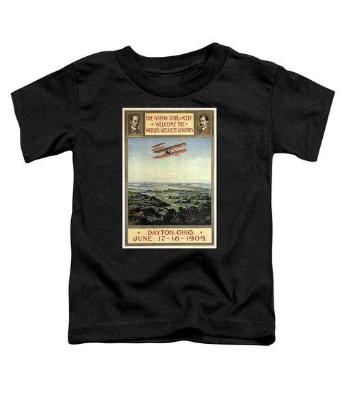 Wright Brothers - World's Greatest Aviators - Dayton, Ohio - Retro Travel Poster - Vintage Poster Toddler T-Shirt