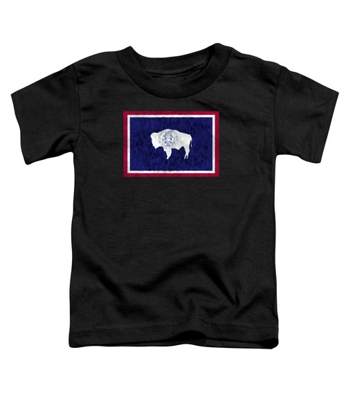 Wyoming Map Art With Flag Design Toddler T-Shirt