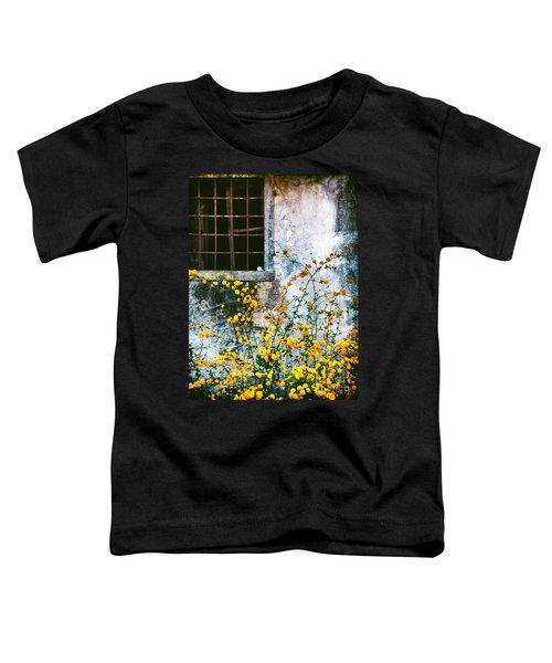 Toddler T-Shirt featuring the photograph Yellow Flowers And Window by Silvia Ganora