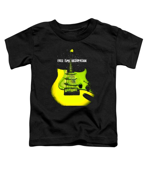 Toddler T-Shirt featuring the photograph Yellow Guitar Full Time Occupation by Guitar Wacky