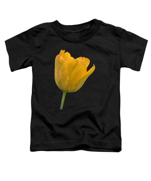 Yellow Tulip Open On Black Toddler T-Shirt