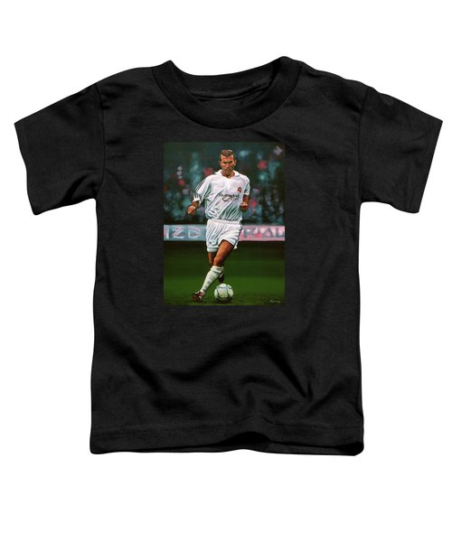 Zidane At Real Madrid Painting Toddler T-Shirt by Paul Meijering