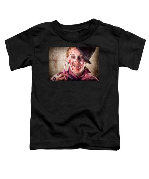 Zombie At Dentist Holding Toothbrush. Tooth Decay Toddler T-Shirt