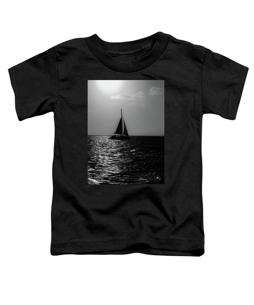 Sailing Into The Sunset Black And White Toddler T-Shirt