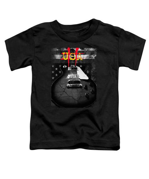 Abstract Relic Guitar Usa Flag Toddler T-Shirt