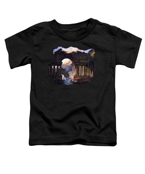 Architectural Landscape With A Canal By Hubert Robert Toddler T-Shirt