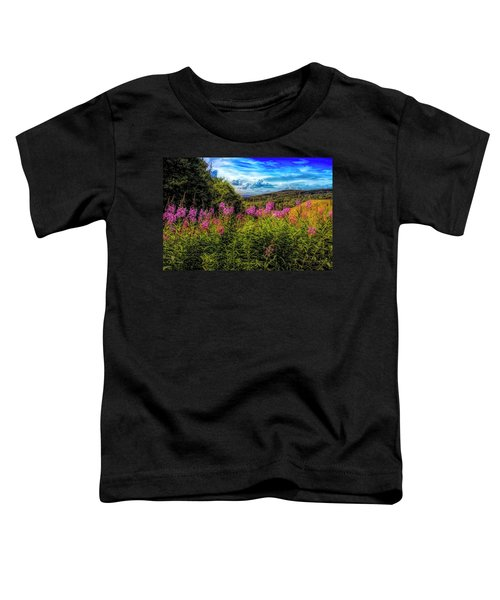 Art Photo Of Vermont Rolling Hills With Pink Flowers In The Fore Toddler T-Shirt