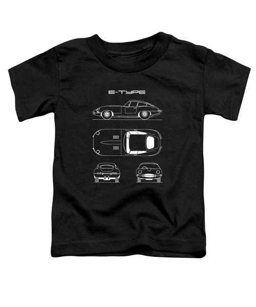 Jaguar E Type Blueprint - Black Toddler T-Shirt