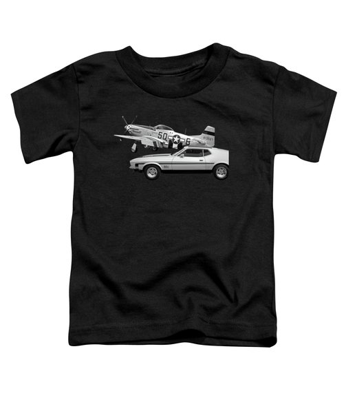 Mach 1 Mustang With P51 In Black And White Toddler T-Shirt