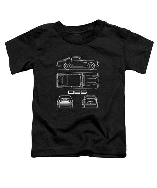 Aston Db5 Blueprint Black Toddler T-Shirt
