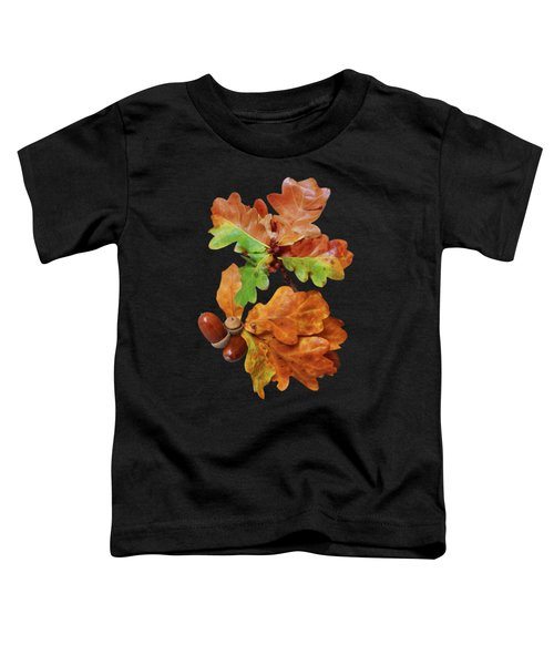 Autumn Oak Leaves And Acorns On Black Toddler T-Shirt