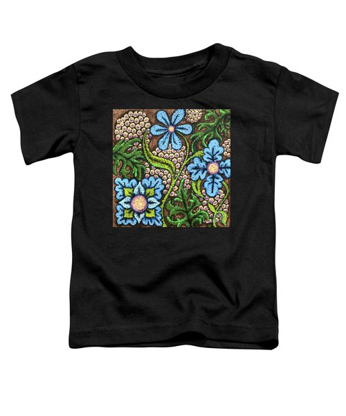Brown And Blue Floral 2 Toddler T-Shirt