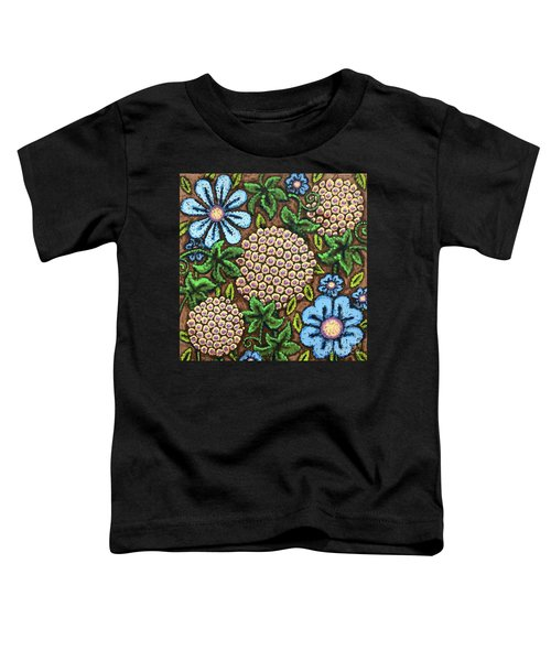 Brown And Blue Floral 3 Toddler T-Shirt