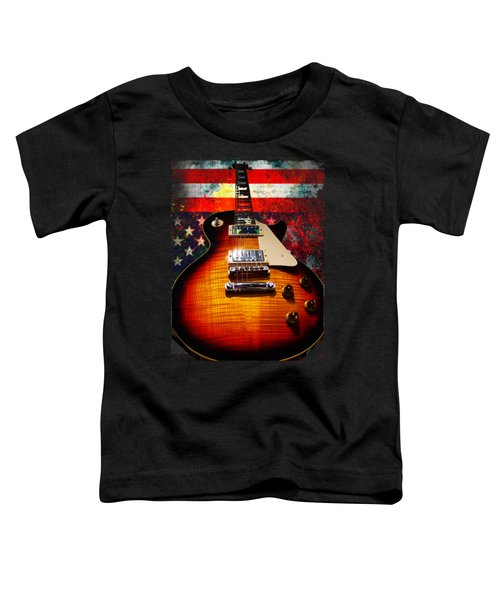 Burst Guitar American Flag Background Toddler T-Shirt