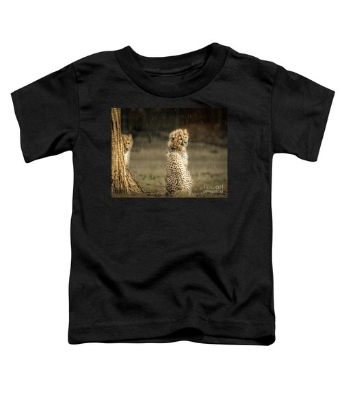Toddler T-Shirt featuring the photograph Cheetah Cubs And Rain 0168 by Donald Brown