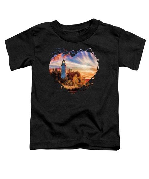 Door County Cana Island Lighthouse Sunrise Panorama Toddler T-Shirt
