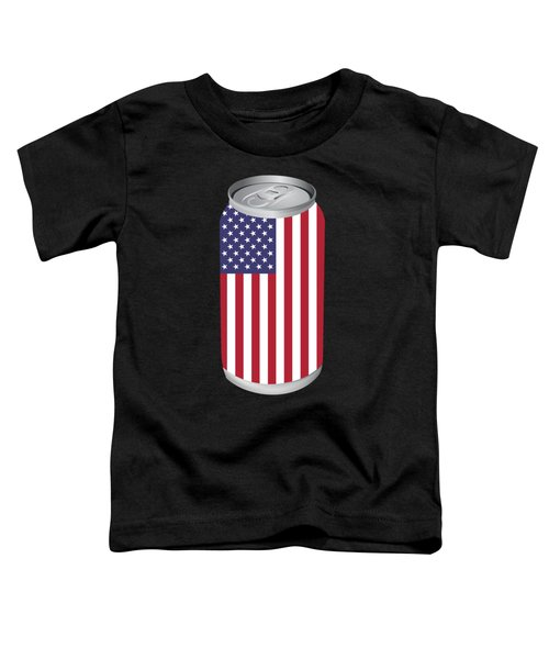 Funny Beer Can Usa Flag Fourth July Gift 4th July Independence Day Toddler T-Shirt