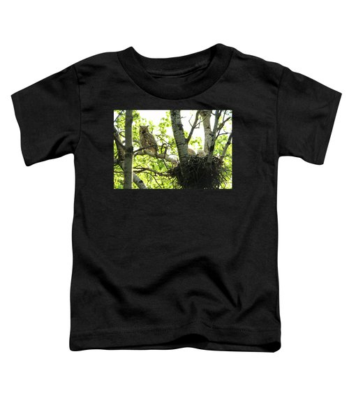 Great Horned Owl And Babies Toddler T-Shirt