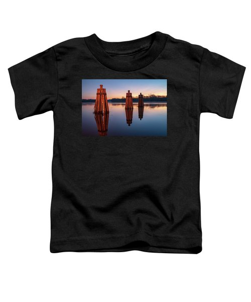 Group Of Three Docking Piles On Connecticut River Toddler T-Shirt