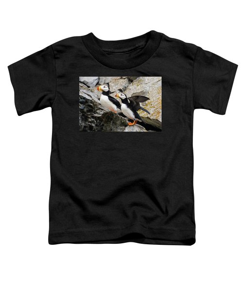 Horned Puffin Pair Toddler T-Shirt