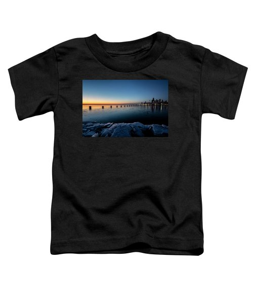 Icy Chicago Skyline At Dawn  Toddler T-Shirt
