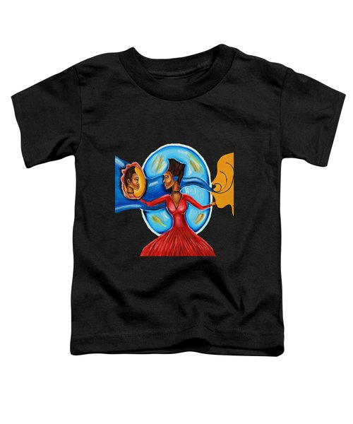 African Goddess Lady In Red Afrocentric Art Mother Earth Black Woman Art Toddler T-Shirt