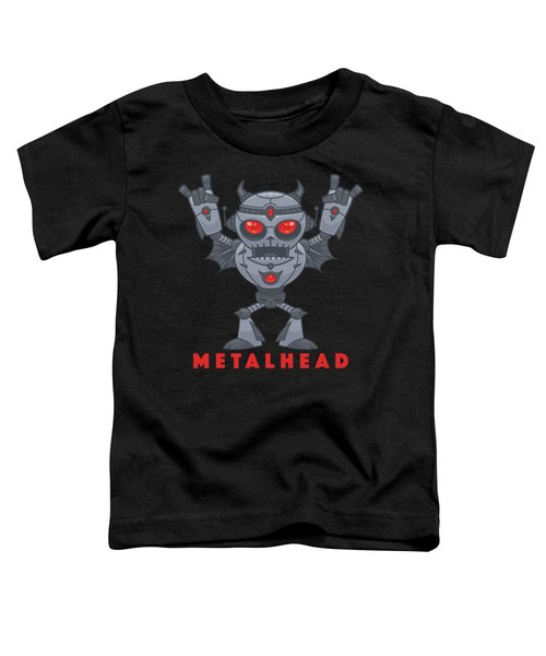 Metalhead - Heavy Metal Robot Devil - With Text Toddler T-Shirt