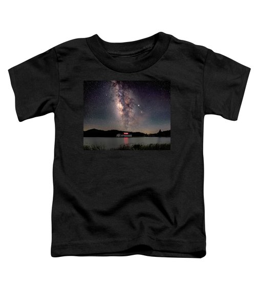 Milky Way Over The Tianping Mountain Lake Temple Toddler T-Shirt