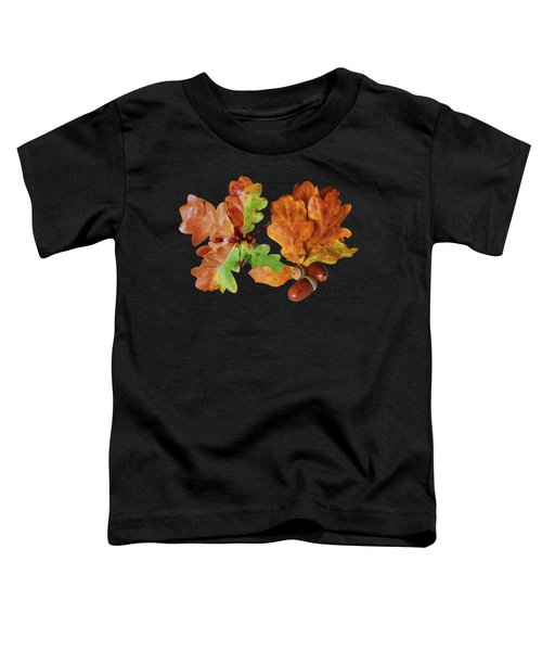 Oak Leaves And Acorns On Black Toddler T-Shirt