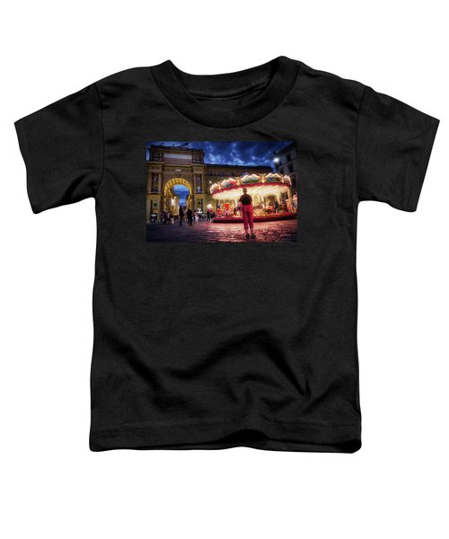 Piazza Della Reppublica At Night In Firenze With Painterly Effects Toddler T-Shirt