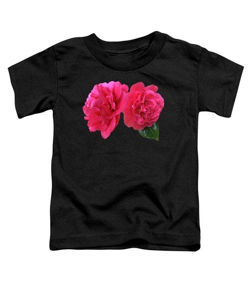 Pink Camellia On Black Toddler T-Shirt