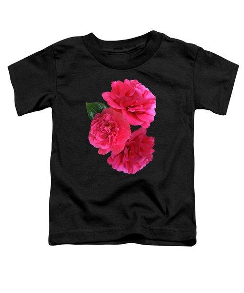 Pink Camellia On Black Vertical Toddler T-Shirt