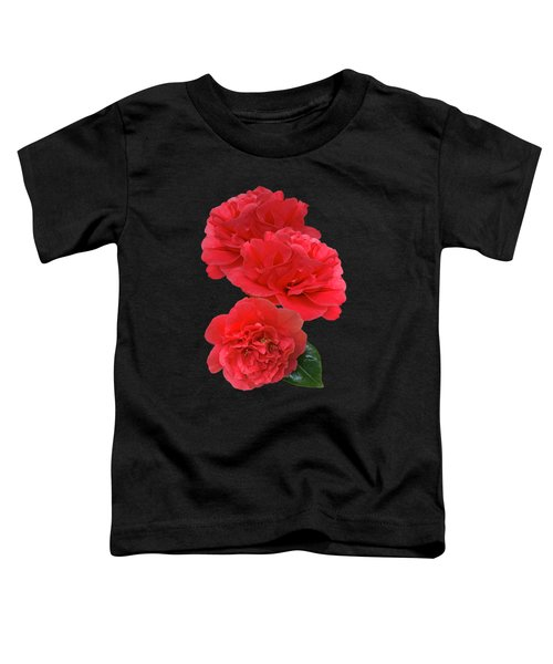 Red Camellias On Black Vertical Toddler T-Shirt