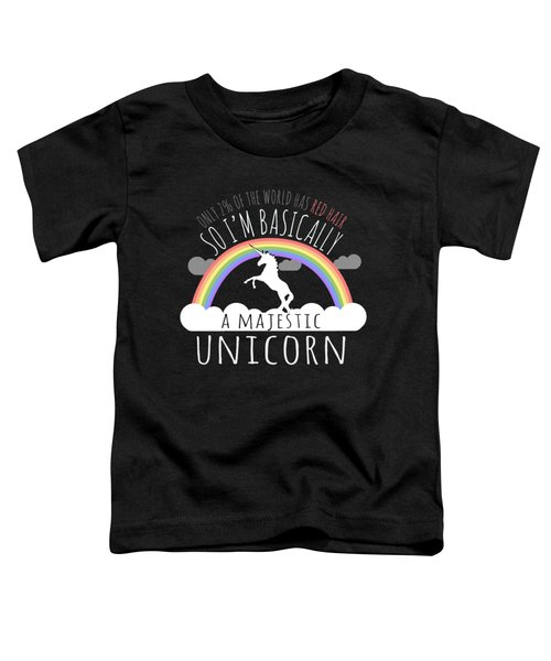 Red Hair Majestic Unicorn Funny Redhead Toddler T-Shirt