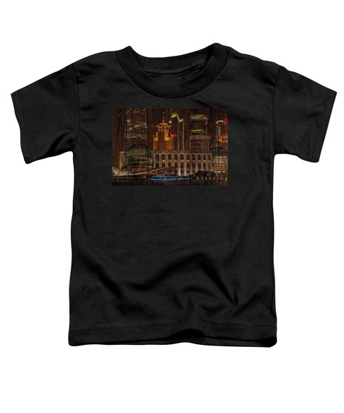 Skyline Of Shanghai, China On Wood Toddler T-Shirt