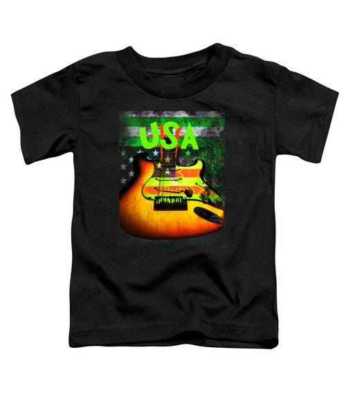 Usa Strat Guitar Music Green Theme Toddler T-Shirt