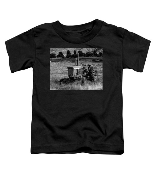 Vintage Tractor In Honeyville Bw Toddler T-Shirt