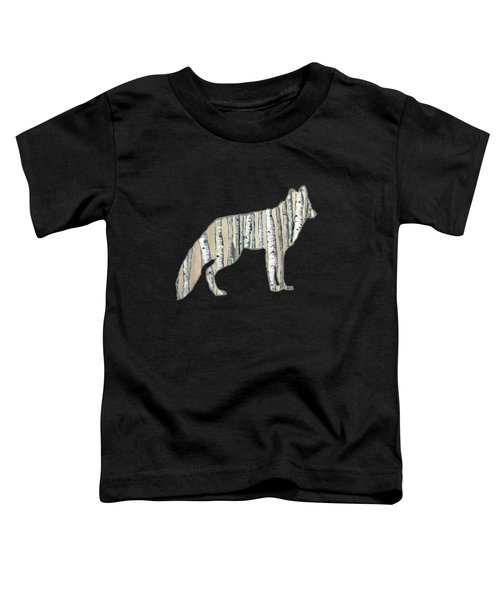 Woods Forest Lodge Wolf With Aspen Trees Toddler T-Shirt