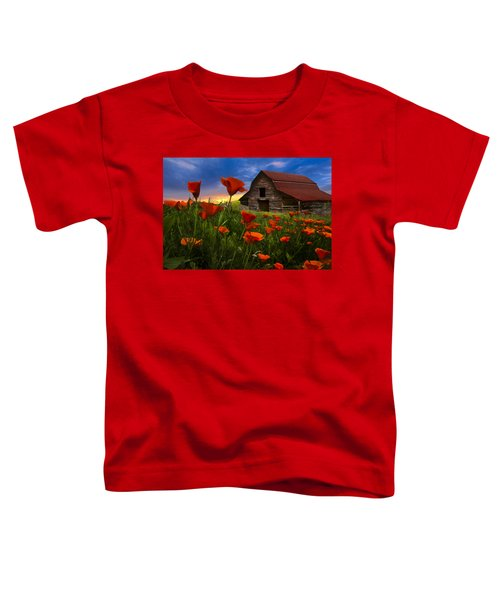Toddler T-Shirt featuring the photograph Barn In Poppies by Debra and Dave Vanderlaan